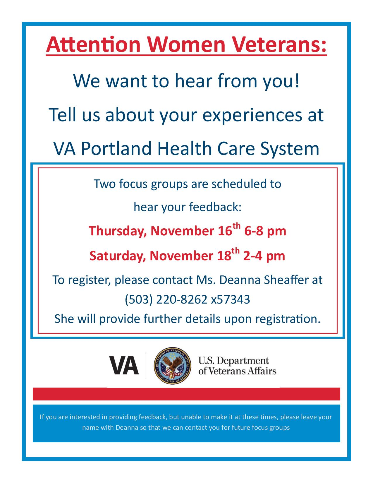 women veterans va healthcare focus groups