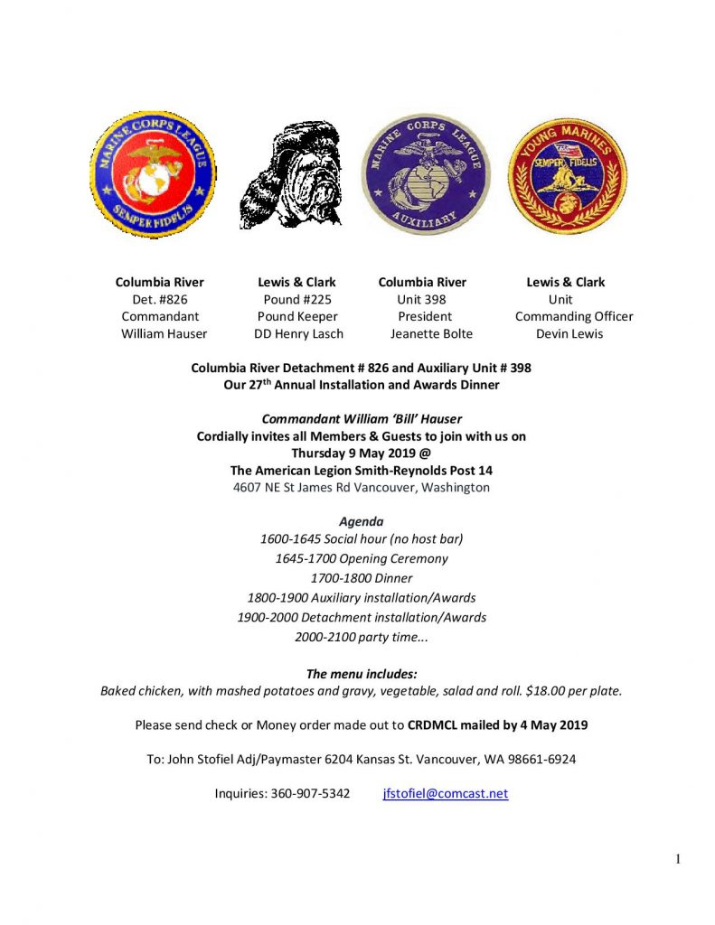 Marine Corps League Officer Installation and Awards dinner